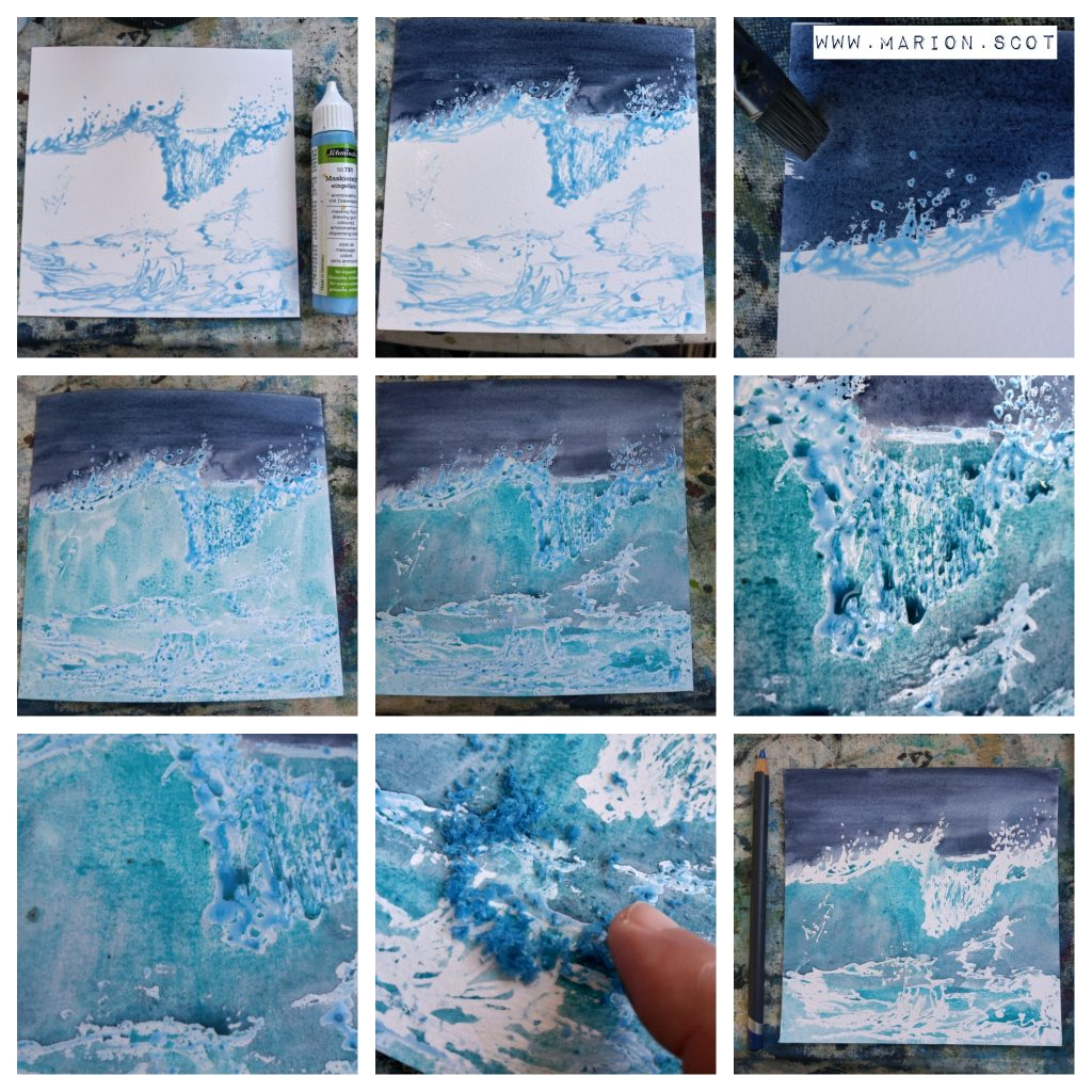 Using masking fluid to preserve white in a watercolour painting of a wave