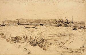 Van Gogh drawing of sea shore