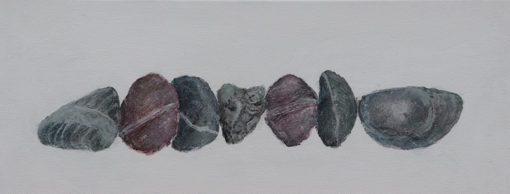 Painting of a row of beach pebbles